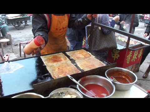 Datong, street food, preparation du rolls