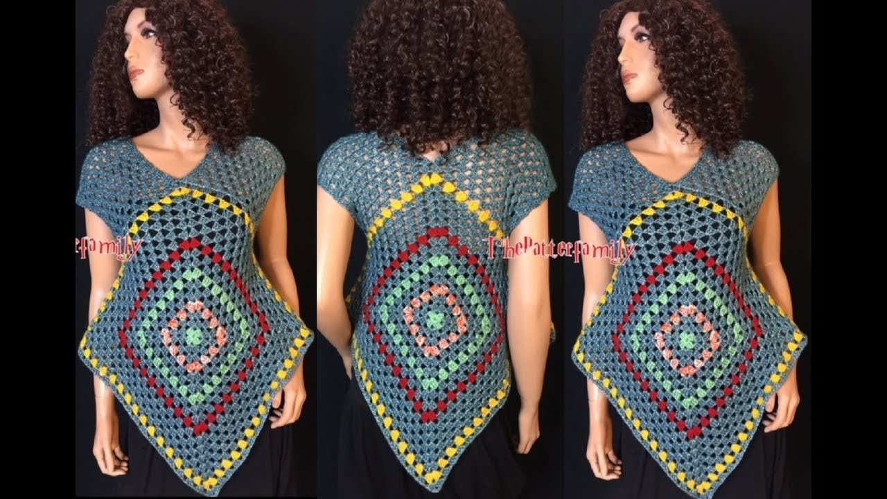 Crochet Granny Square Tunic Pattern : How to Crochet Granny Square Summer Top Pattern #30?by ...