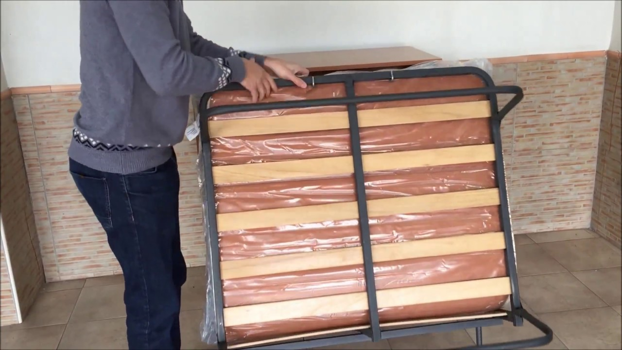 Mueble cama plegable con ruedas Furnet  YouTube