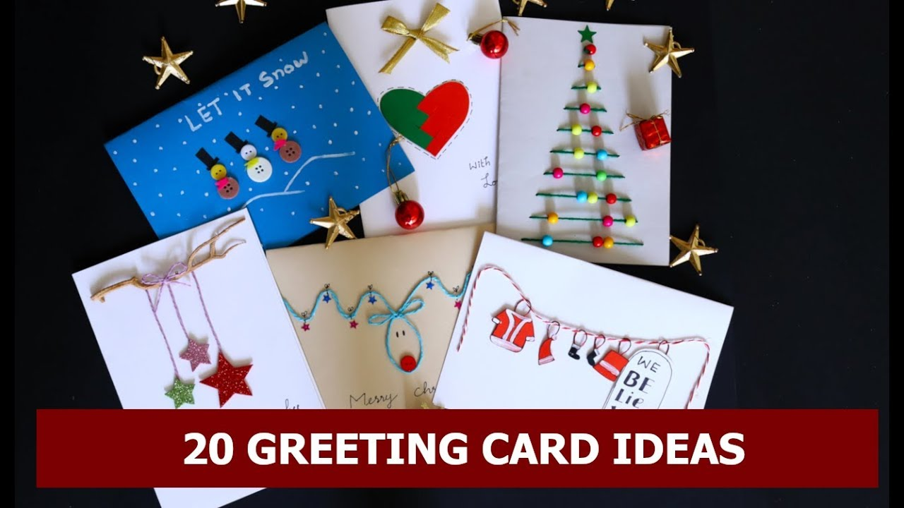 20 Diy Handmade Christmas Card Ideas Easy Christmas Greeting Card Making Ideas By Aloha Crafts Youtube
