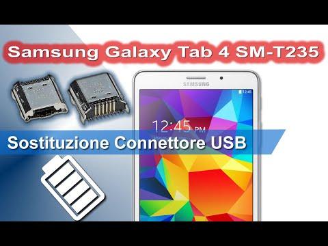 Samsung Galaxy Tab 4 SM-T235 smontaggio sostituzione connettore alimentazione.