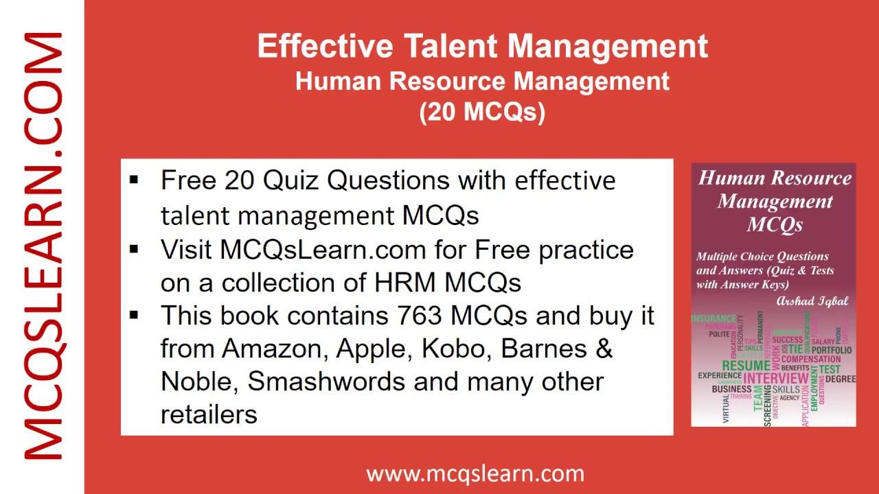 Effective Talent Management Quiz - MCQsLearn Free Videos