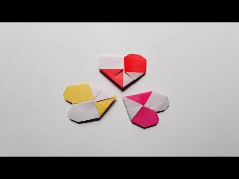 How to make a simple easy & quick DIY paper heart Origami   Instructions in English step by step
