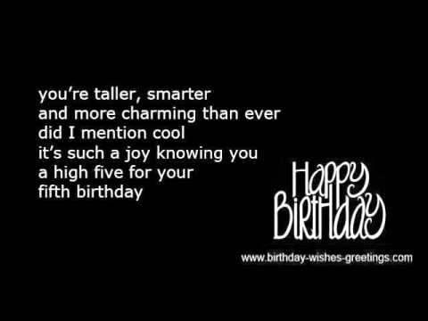 5th Birthday Boys Poems And Girls Quotes YouTube