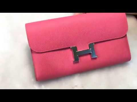 開箱!Hermès愛馬仕Constance系列玫瑰粉長夾 - YouTube