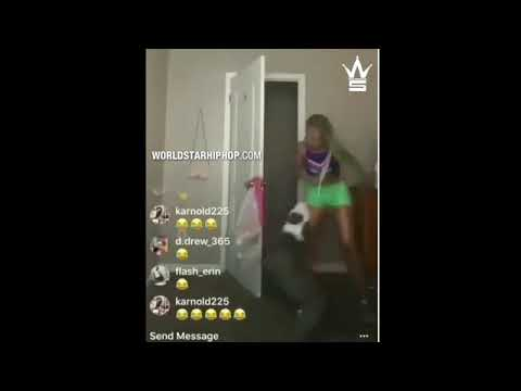 Chick Gets Attacked By A Pitbull While Live Streaming On Instagram