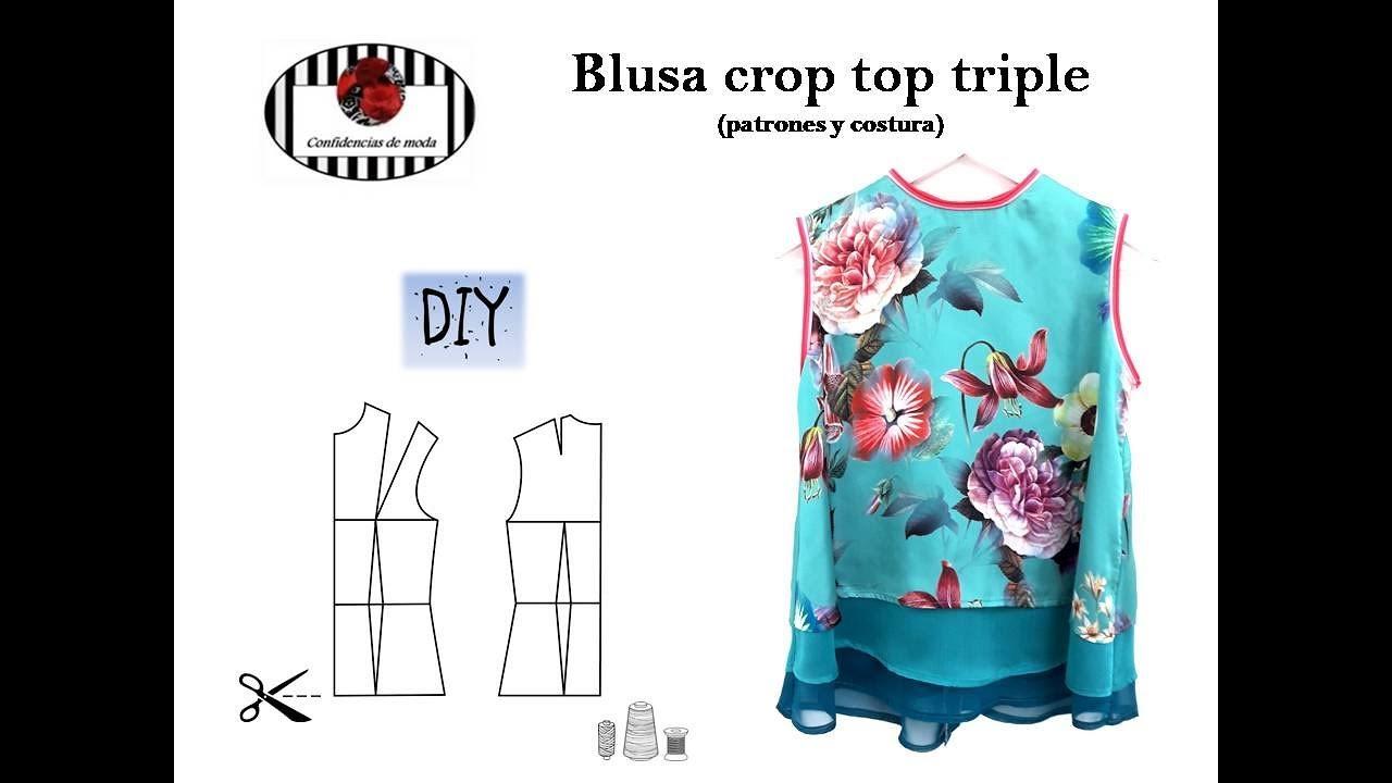 Cómo hacer una blusa de satén y seda (crop top triple). DIY ...