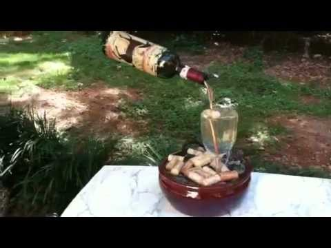 Wine bottle fountain youtube for Wine bottle crafts for sale