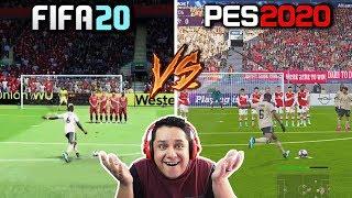 FIFA 20 vs PES 2020 COMPARAÇÃO!! QUEM VENCE?! (GAMEPLAY, GRÁFICOS, FACES  ETC)