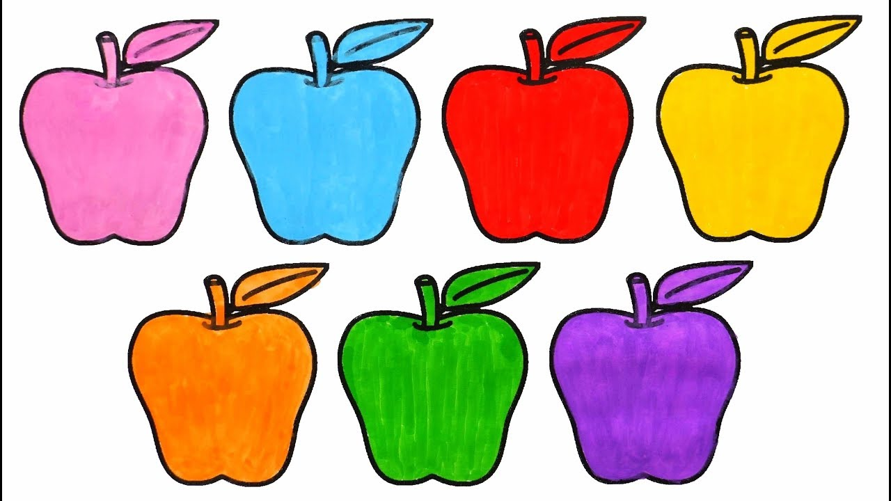 learn colors for kids with apples coloring pages how to draw