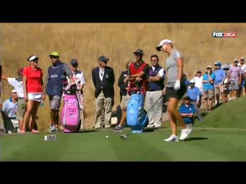 Brittany Lang,Anna Nordqvist Play Off Women's US Open 2016 Final Round