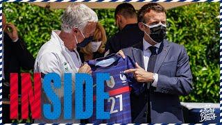 Le Président de la République avec les Bleus Equipe de France I FFF 2021