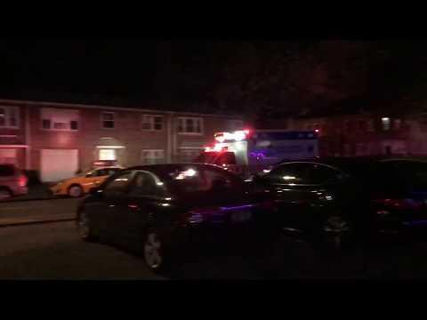 JAMAICA HOSPITAL EMS AMBULANCE RESPONDING ON ATLANTIC AVENUE IN EAST NEW YORK, BROOKLYN, NEW YORK.