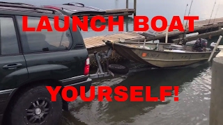 How to launch a boat Alone!!!! FAST AND EASY SOLO WAY!!!