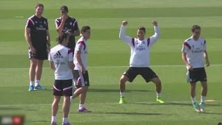 Cristiano Ronaldo Panna On James Rodriguez | Funny Celebration ● Real Madrid Training Session (HD)