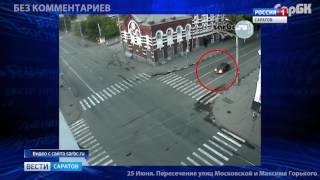 Появилось видео с камер наблюдения крупной аварии на Московской и Горького