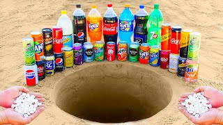 Fanta, Coca Cola, 7up, Pepsi and Many Other Popular Sodas VS Mentos in Big Underground!