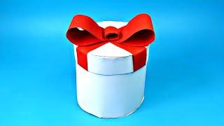 🎁 КРУГЛАЯ КОРОБКА ДЛЯ ПОДАРКА своими руками || Как сделать красивую подарочную упаковку из бумаги А4