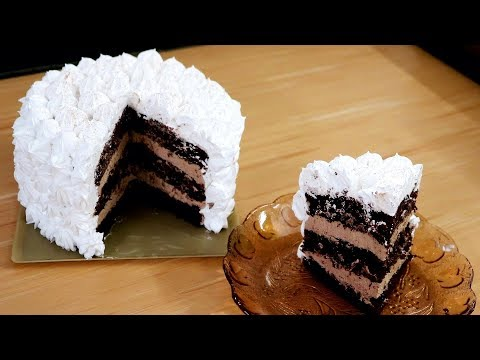Chocolate Cake With Milk Chocolate Mousse & Whipped Cream | Kitchen Time With Neha