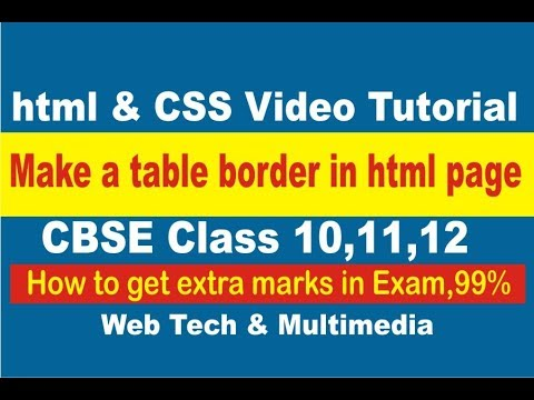 how to make table border in html web page video tutorial training in Hindi