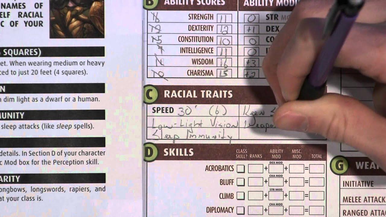 Pathfinder Character Sheet Generator