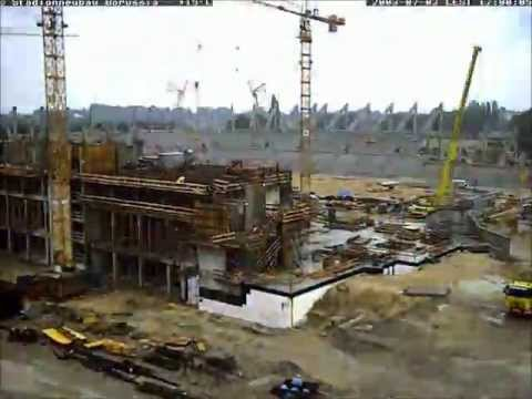 1 webcam beim bau des stadions im borussia park 2002 2004 youtube. Black Bedroom Furniture Sets. Home Design Ideas