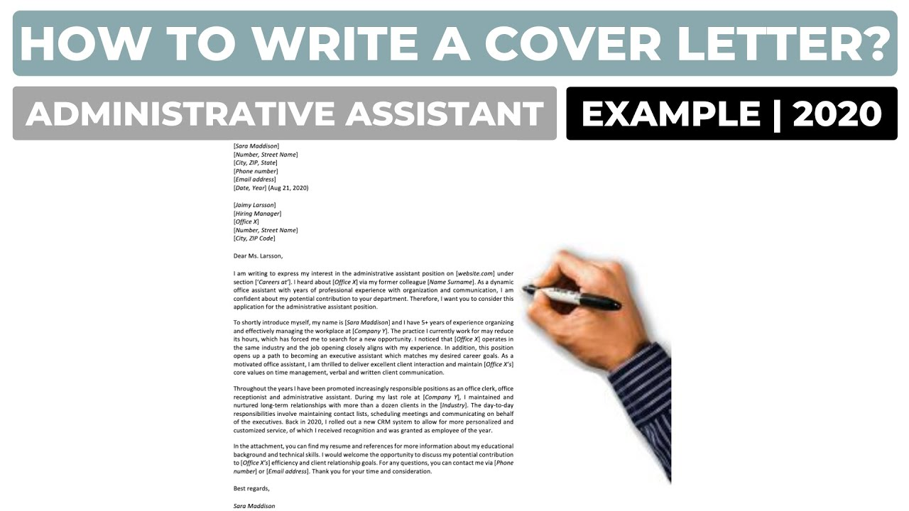How To Write A Cover Letter For An Administrative Assistant Job Example Youtube