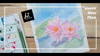 Lotus Water Colour Painting | Drawing Tutorial