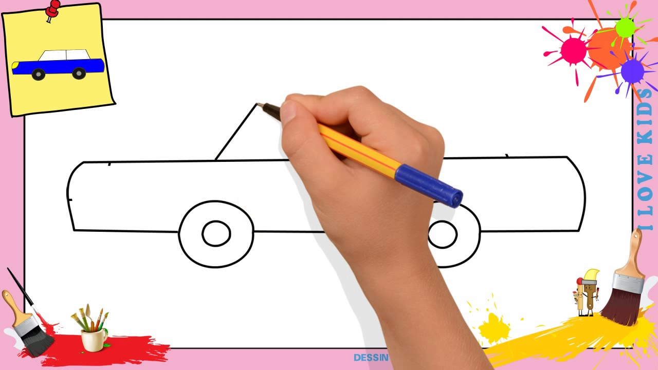 dessin voiture 3 comment dessiner une voiture facilement etape par etape pour enfants youtube. Black Bedroom Furniture Sets. Home Design Ideas