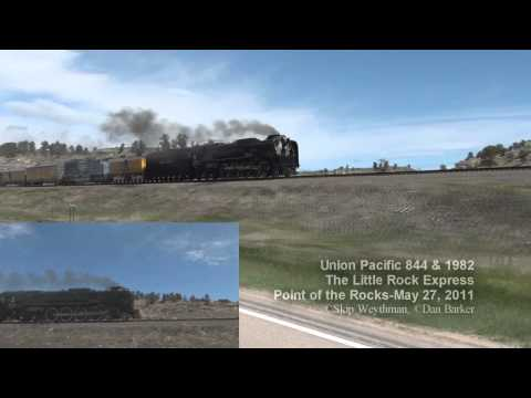 UP 844 at the sharpest curve along the Union Pacific Railroad HD Dual Cam