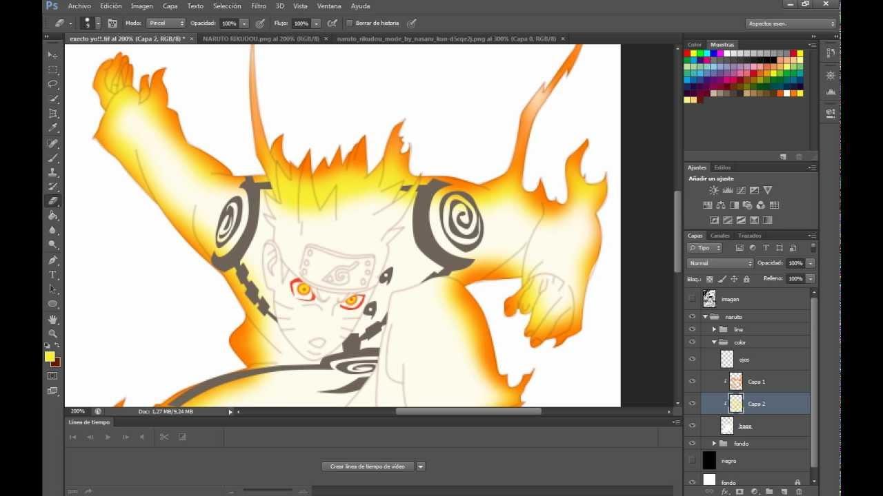 Como Colorear A Naruto Modo Bijuu Parte 1