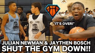 Julian Newman Gets CHALLENGED By Jaythan Bosch at NEOYE!! | Players STORMS the Court