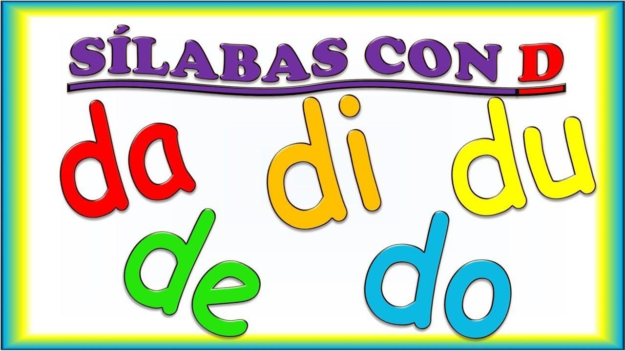 Silabas Con D Para Ninos Da De Di Do Du Syllables With D In