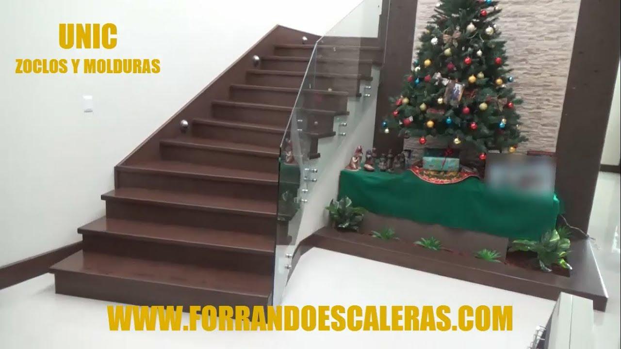 Recubrimiento de escalera con madera youtube for Como trazar una escalera de madera