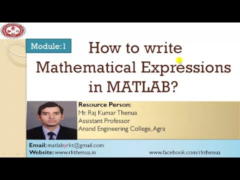 Lecture-4: How to write a mathematical expression in MATLAB (Hindi/Urdu)