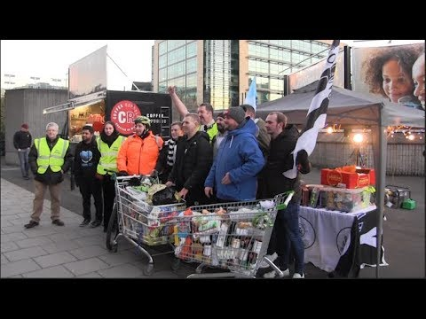 Newcastle United fans pushed trolleys full of food to St. James's Park in aid of NUFC Foodbank