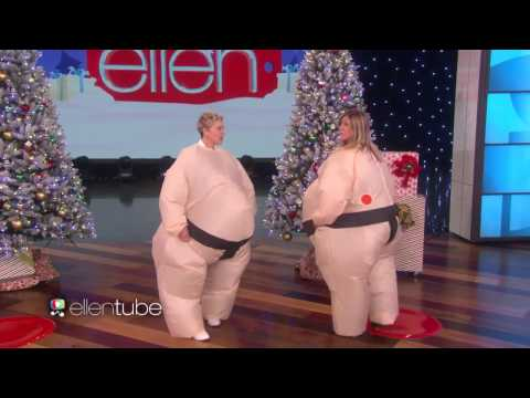 JENNIFER ANISTON On ELLEN SHOW HAVING Some SUMO SIZED FUN! Sooo FUNNY WOW! MUST SEE VIDEO 30 NOV