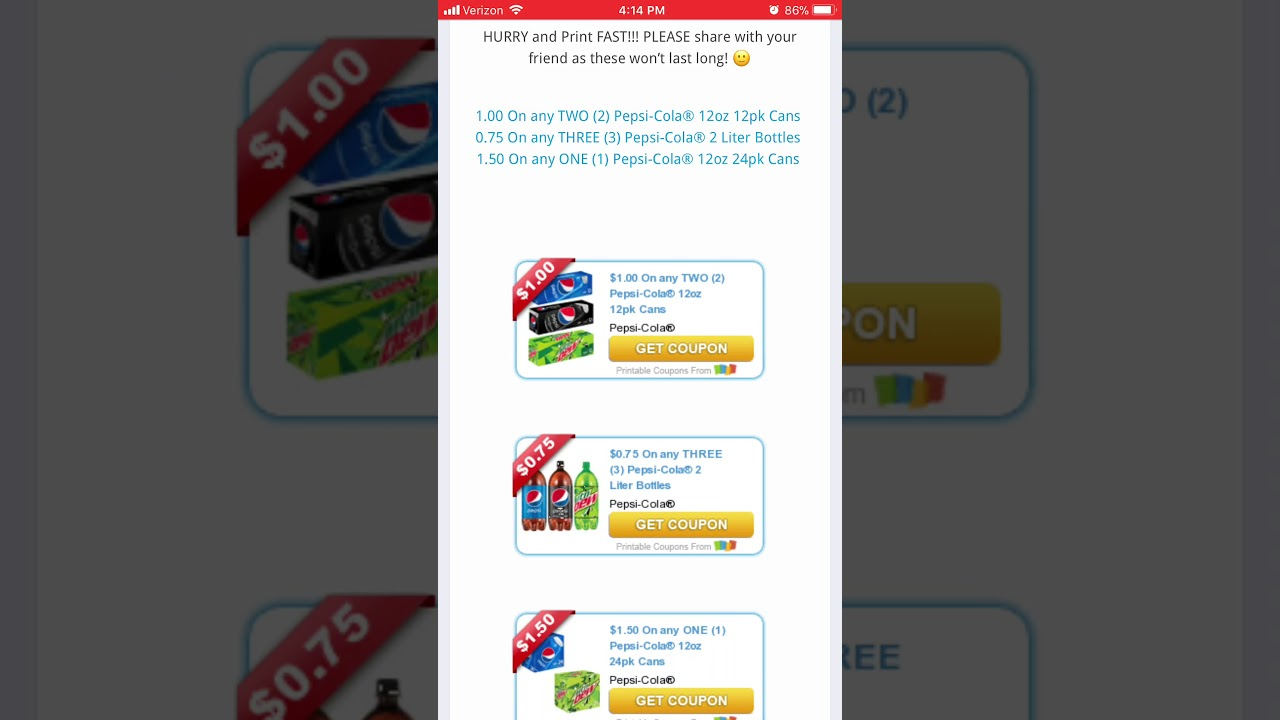 picture about Pepsi Coupons Printable called Fresh new Pepsi Coupon codes!!