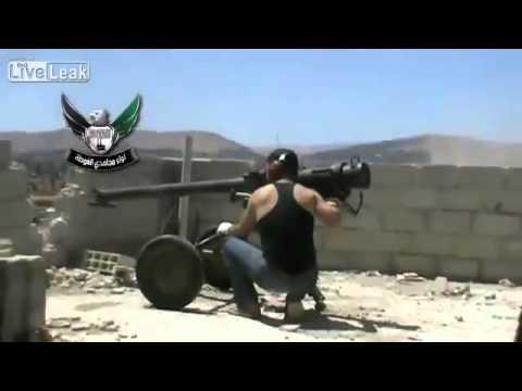 Free syrian army rebels hit saa bmb wih recoiless gun youtube