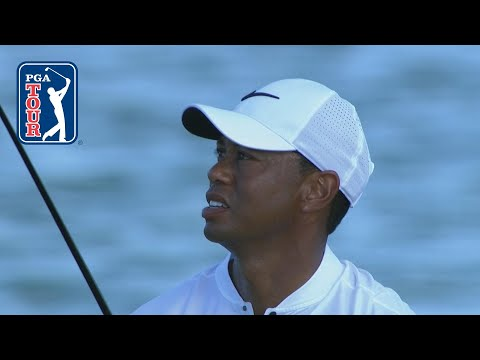 Tiger Woods drops his 3-wood on a dime at Hero