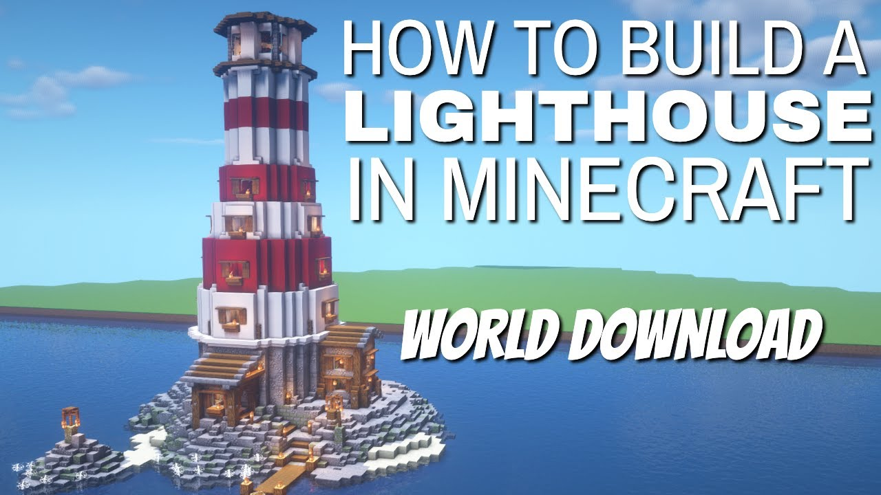 How to Make a Lighthouse in Minecraft: Minecraft Building Tutorial World  Download (Walkabout 8)