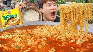 아궁이뚜껑에 끓인 라면 맛은 어떨까?! 고소한 참깨라면…