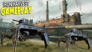 IRON HARVEST GAMEPLAY | Walking Tanks, Buildable Bases, & Diesel Punk Armies