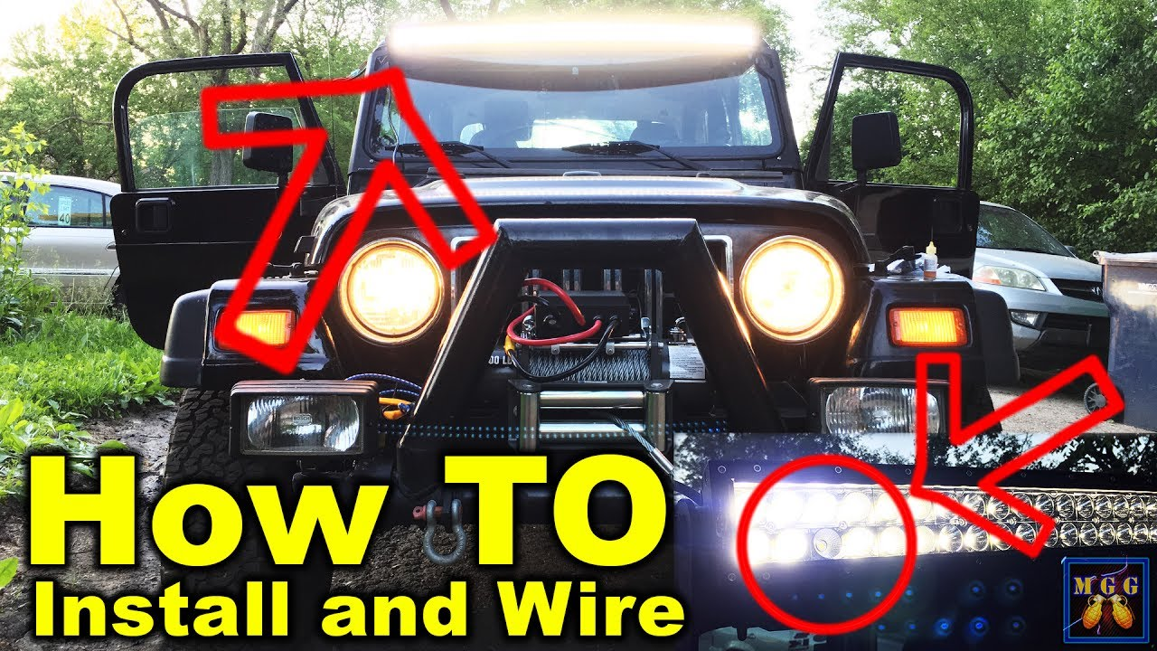 install 50 inch led lightbar on a jeep wrangler tj how to youtube rh youtube com Jeep Wrangler Windshield Glass Windshield for 2009 Jeep Wrangler