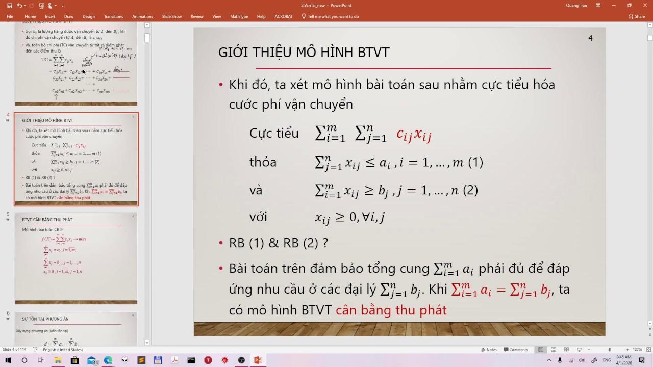 Bài toán vận tải – PACB – Thuật toán thế vị (MODI)
