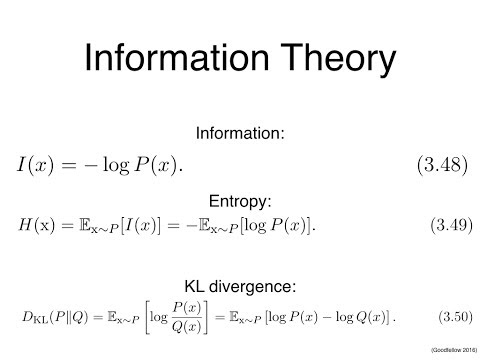 Deep Learning Chapter 3 Information Theory presented by Yaroslav Bulatov