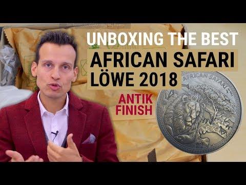 1 kg Silber - AFRICAN SAFARI Löwe 2018 - Antik Finish & Polierte Platte
