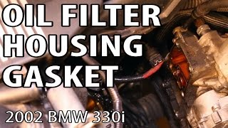 BMW 330i 325i E46 Oil Filter Housing Gasket Change(Update on Mar 13, 2015: I've been made aware that I didn't have to drain all the oil out of my engine during this video. I could have just slowly opened the oil ..., 2015-03-08T05:24:04.000Z)