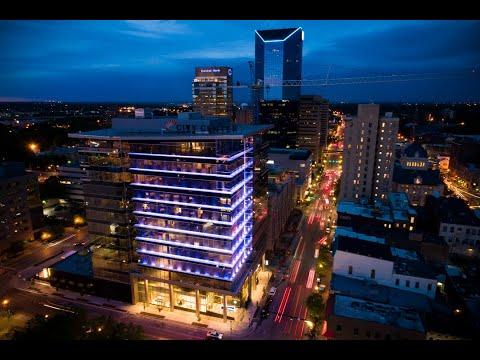 Drone Video Of City Center Illuminating Downtown Lexington Skyline