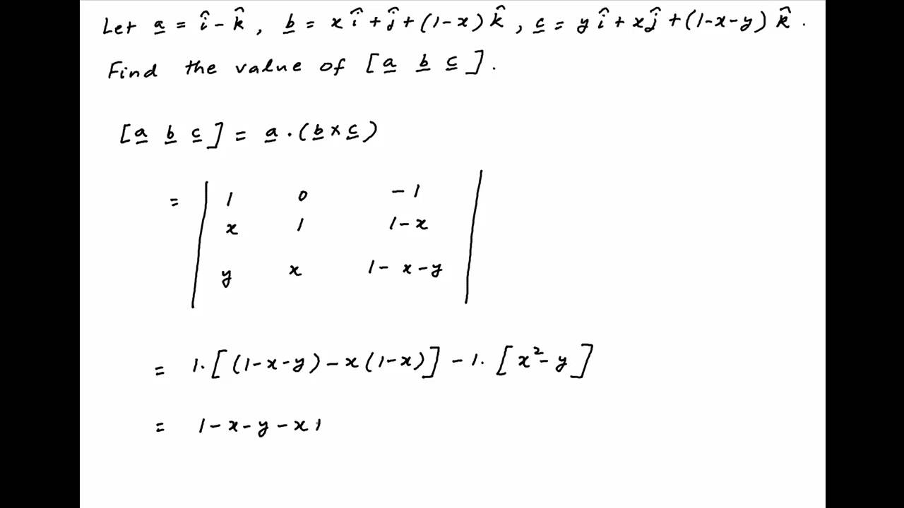 IIT 2001] Find value of the scalar triple product [a b c] given ...